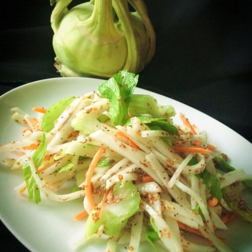 Easy, Light Kohlrabi Slaw - Healthy, Plant-Based, Gluten-Free, Oil-Free, Vegan Summer Salad Recipe from Plants-Rule