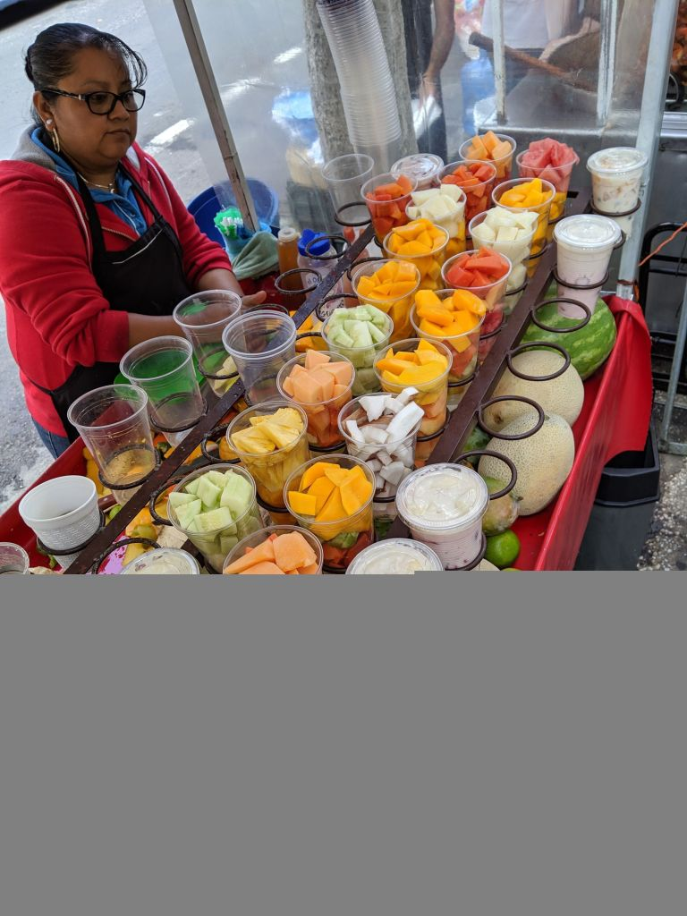 Beautiful fresh fruit, granola, and juices are available from many street vendors - Eat Mexico Street Food Tour Mexico City Vegan Food August 2019