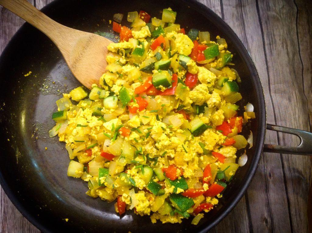 Garden Vegetable Tofu Breakfast Scramble - Easy, Healthy, Plant-Based, Oil-Free, Gluten-Free Vegan Recipe from Plants-Rule