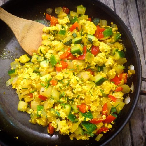 Garden Vegetable Tofu Breakfast Scramble - Easy, Healthy, Plant-Based, Oil-Free, Gluten-Free Vegan Recipe from Plants-Rule
