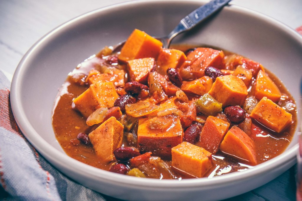 Sweet Potato Chipotle Plant-Based Chili - Healthy, Plant-based, Gluten-Free, Oil-Free Vegan Soup Stew Recipe from Plants-Rule
