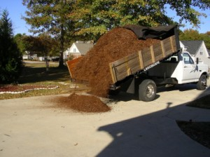 bark mulch being delivered