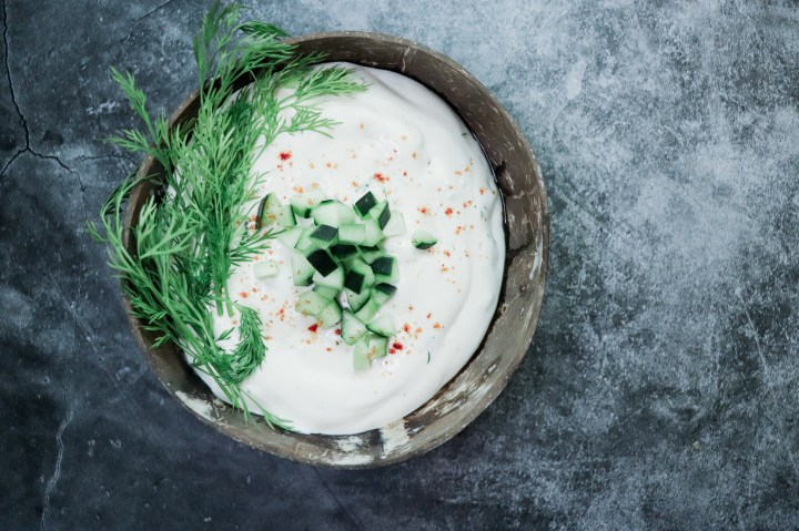 This is a vegan tzatziki recipe made without tofu or cashews