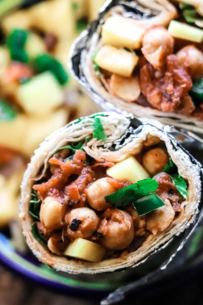 A really awesome vegan burrito option full of protein.