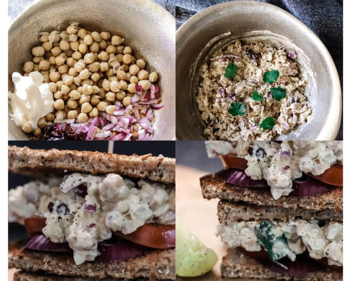 How do you make chickpea salad? These four images show you how to create the perfect, plant-based sandwich with plant-based protein.