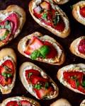 Strawberry & Vegan Basil Ricotta Crostini with Balsamic Glaze