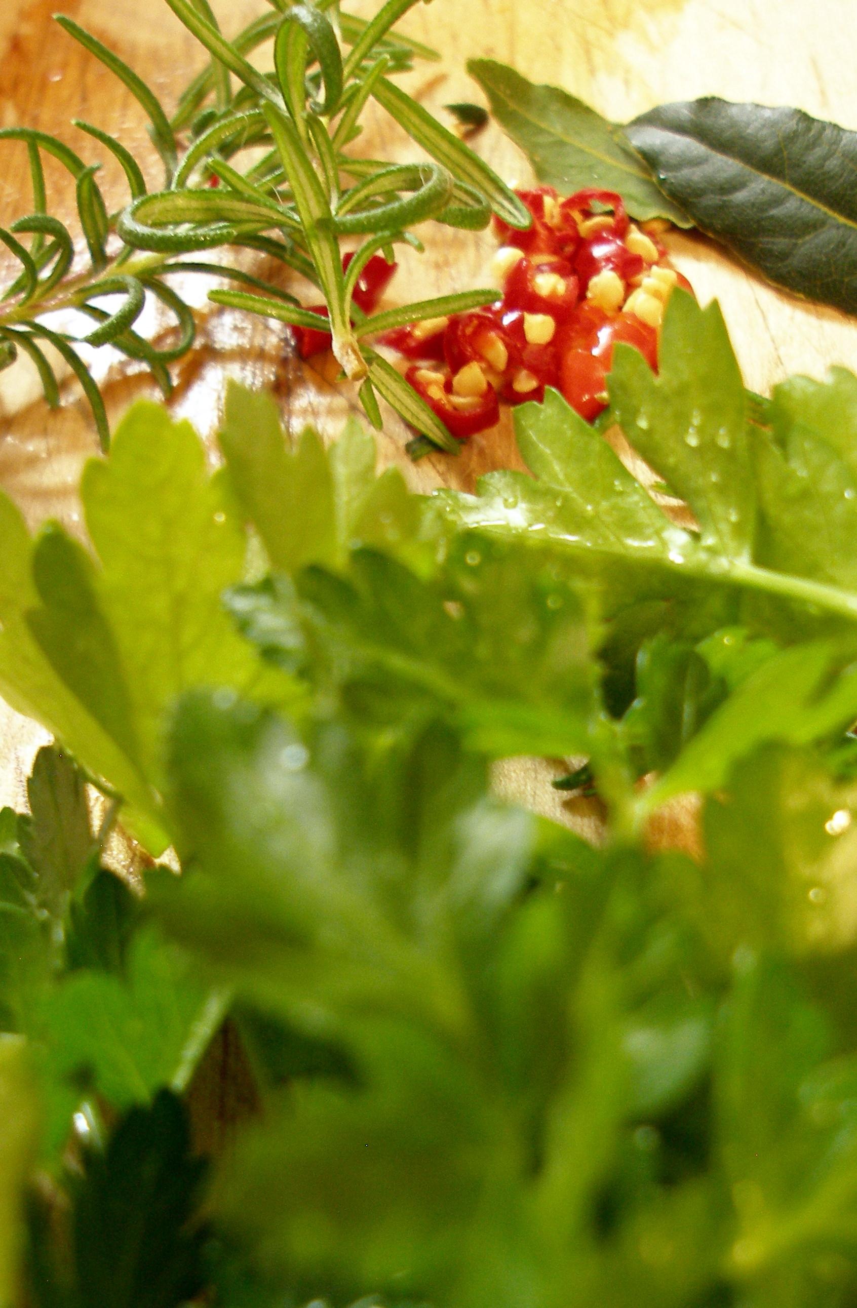 parsley, rosemary, bay, thai chilies