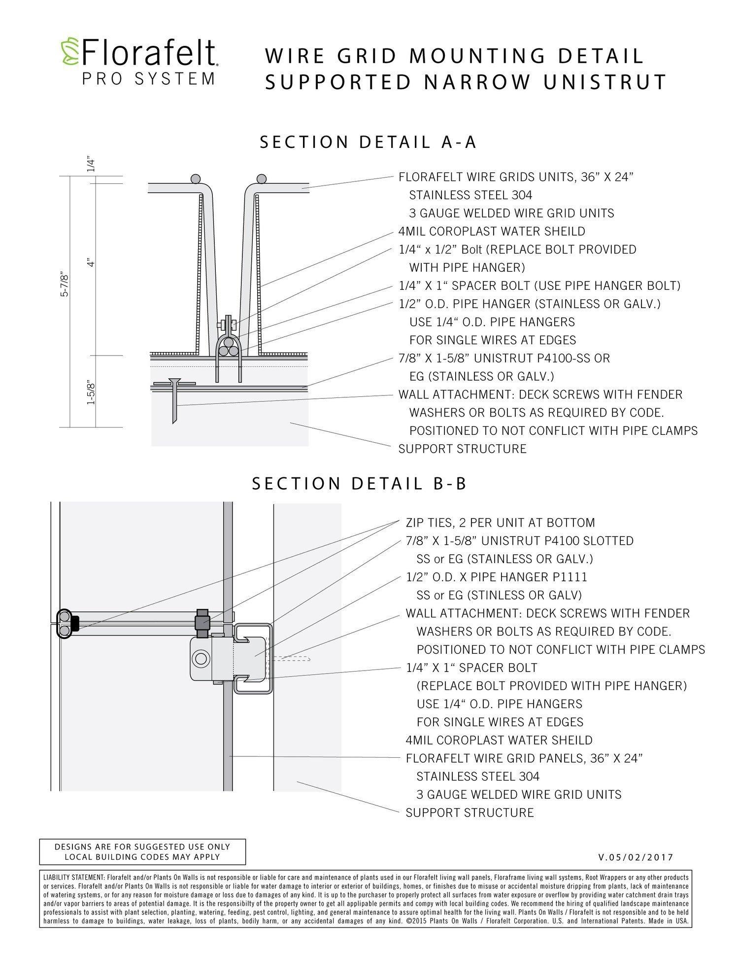 2 wire inter system 4 way florafelt pro grid mounting