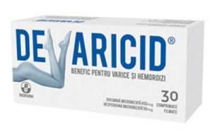 DEVARICID 30CPR BIOFARM Compozitie: Un comprimat filmat contine diosmina micronizata 450 mg, hesperidina micronizata 50 mg si excipienti: celuloza microcristalina 101, Opadry, glicolat sodic de amidon, stearat de magneziu, talc, gelatina. Actiune: Devaricid sustine functionarea normala a venelor, capilarelor si a vaselor limfatice.Acest produs ajuta la restabilirea si mentinerea tonusului peretilor vasculari, reda functionalitatea si elasticitatea venelor si readuce ia valori normale rezistenta si permeabilitatea capilarelor. Este util persoanelor care resimt neplaceri determinate de functionarea defectuoasa a sistemului venos (senzatia de picioare grele, umflate, dureri Ia nivelul gambelor) precum si aceiora care au hemoroizi ce le provoaca dureri locale. Utilizare: Cate 1 comprimat filmat de 2 ori pe zi, în timpul meselor. La nevoie, atunci cand senzatiile neplacute cauzate de hemoroizi (in special durerile) sunt foarte intense, se pot utiliza cate 2 comprimate de 3 ori pe zi, timp de 4 zile, scazand apoi Ia 2 comprimate de 2 ori pe zi, timp de 3 zile. Dupa aceste 7 zile se va continua cu cate 1 comprimat de 2 ori pe zi. Comprimatele se iau cu putina apa, in timpul meselor. Precautii: Pe perioada sarcinii este important ca femeia sa ceara sfatul medicului înainte de a incepe sa utilizeze acest produs. Nu au fost observate efecte nedorite pana in prezent. Deoarece nu se cunoaste daca substantele din compozitia acestui produs trec în lapte, este de preferat a se evita utilizarea in perioada de alaptare. Suplimentele alimentare nu trebuie sa inlocuiasca un regim alimentar variat. A nu se depasi doza zilnica recomandata. Dozele pentru copii vor fi recomandate de medic. A nu se lasa la indemâna si vederea copiilor. A nu se folosi dupa data expirarii inscrisa pe ambalaj. Conditii de pastrare: A se pastra la temperaturi sub 25°C, în ambalajul original. Mod de prezentare: Cutie cu 3 blistere a cate 10 comprimate filmate.