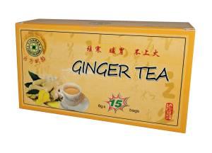 Ceai din Radacina de Ghimbir 15 plicuri Ceaiul de ghimbir este o bautura din plante asiatice care este fabricata din radacina de ghimbir. Are o lunga istorie fiind folosita ca medicament pe baza de plante in Asia de Est, Asia de Sud, Asia de Sud-Est si Orientul Mijlociu.  Ceaiul de ghimbir este folosit de obicei pentru a preveni racelile si pentru a ajuta la digestie, stomac deranjat, diaree si greata, precum si ca remediu pentru tuse si durere in gat. Ceaiul de ghimbir a fost, de asemenea, pretins pentru a ajuta circulatia sangelui. Ghimbirul este o mina de aur pentru organism, putandu-l revigora si enegiza instant; poate: ajuta la calmarea greturilor matinale ale femeilor din perioada sarcinii atenua manifestarile dezagreabile asociate raului de miscare (automobile, avion, vapor,...) calma durerile abdominale reduce volumul gazelor interstinale intareste sistemul imunitar mentine activitatea sexuala Prezentare: 15 plicuri a 8,0g greutatea neta 120g Mod de utilizare : Se toarna 1 pliculet in 80ml apa fierbinte , se poate adauga miere si lamaie , a nu se depasi 2-3 ceaiuri pe zi