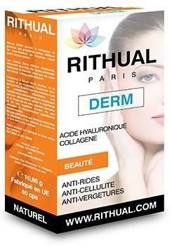 RITHUAL DERM 40 CPStratează problema din interior Rithual Derm tratează problema din interior, spre deosebire de cremele tipice cu colagen care nu pătrund în straturile profunde ale epidermei. Rithual Derm ajută la stimularea sintezei de colagen și elsatină în organism, menținând astfel sănătatea articulațiilor, a pielii și a ochilor. Mai mult decât atât, acest produs ajută la menținerea elasticității pielii, ajutând la prevenirea apariției și la îndepărtarea ridurilor. Cu alte cuvinte, hidratarea cu Rithual Derm reprezintă secretul unei pieli tinere și radioase! O cutie de Rithual Derm conține 40 de capsule. Tratamentul constă în administrarea unei capsule pe zi, de preferat seara, înainte de culcare. Trateaza: celulita-pielea nu va mai avea aspectul unei coji de portocalacurata tenul de acnee, pete si imperfectiunidispar cearcaneledispar riduriledispar vergeturilepielea uscata, deshidratata sau matura va fi hidratata si catifelataintareste unghiile Cu Rithual Derm vei avea o piele sanatoasa, curata si hidratata! Rithual DERM curata pielea de acnee, pete si imperfectiuni! Datorita compozitiei sale pe baza de ingrediente active,Rithual derm ajuta la vindecarea afectiunilor dermatologice. Daca esti una dintre persoanele care sufera de acnee, pete, pori dilatati si exces de sebuum incerca Rithual derm si vei scapa de afectiuni! Rithual derm se poate administra de orice persoana care sufera de afectiunile de mai sus indiferent de varsta si tipul de piele. Ridurile, celulita, aspectul tern al parului, pielii si unghiilor, procesul de imbatranire poate fi incetinit cu ajutorul suplimentului Rithual derm. In toate anotimpurile este esential sa-ti ingrijesti corespunzator pielea. Este mai simplu decat ai crede! Necesara tuturor tipurilor de piele, hidratarea cu Rithual DERM este secretul unei pieli tinere si radioase. Hidratarea si protejarea pielii pe timpul verii o poti face cu o crema ce contine ecran solar si Rithual DERM, un produs bogat in colagen, alge marine, acid 
