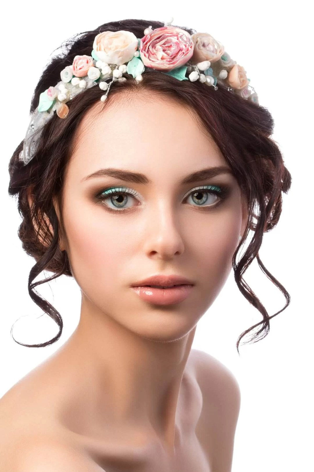 An Elegant Bridal Look with Shimmery Eyes and Flower Crown
