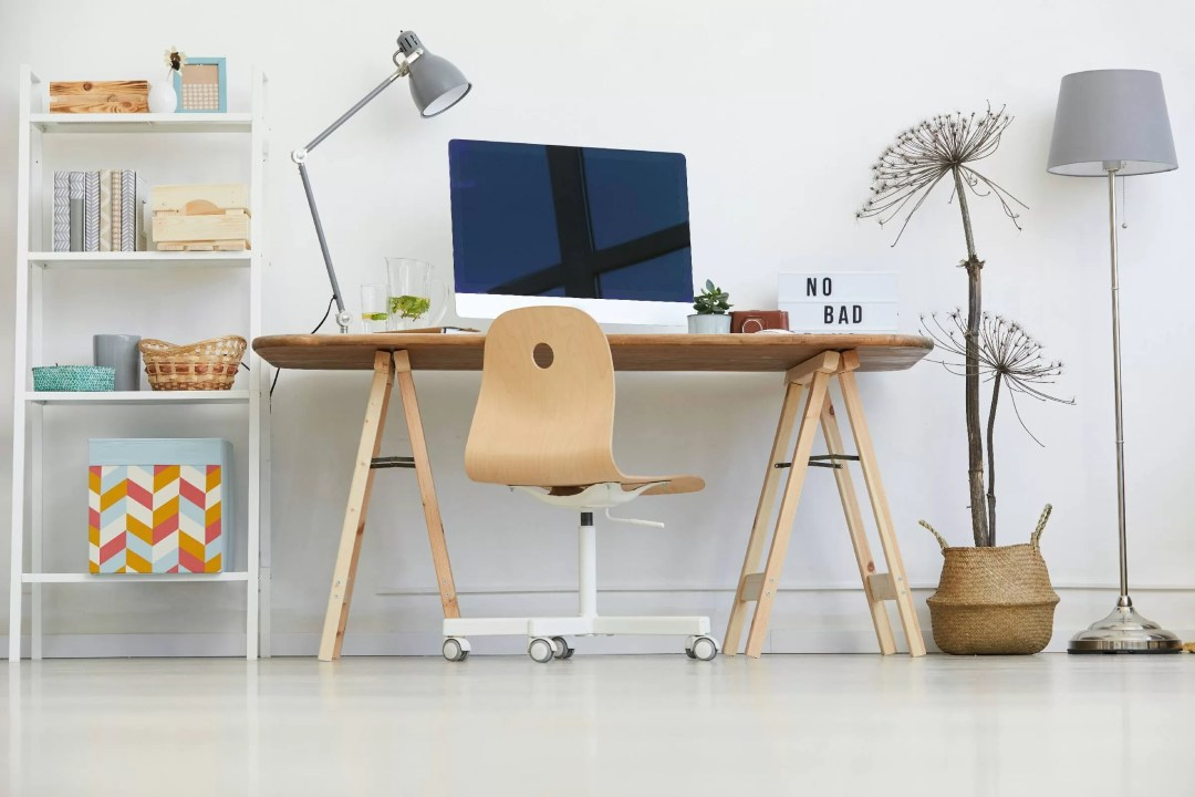 Enhance your desk decor style with floating shelves