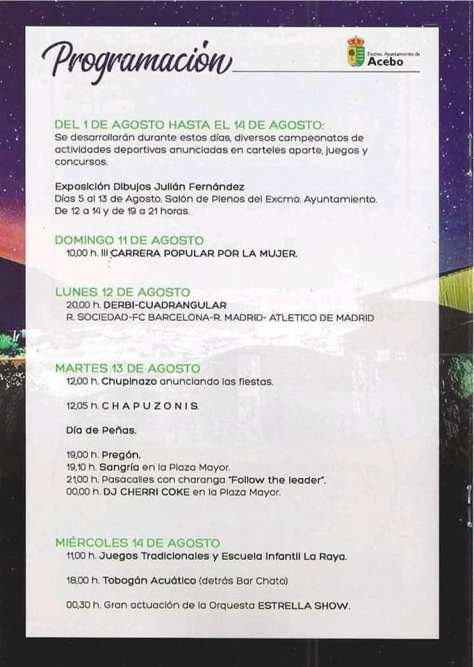 Cartel fiestas de Agosto en Acebo