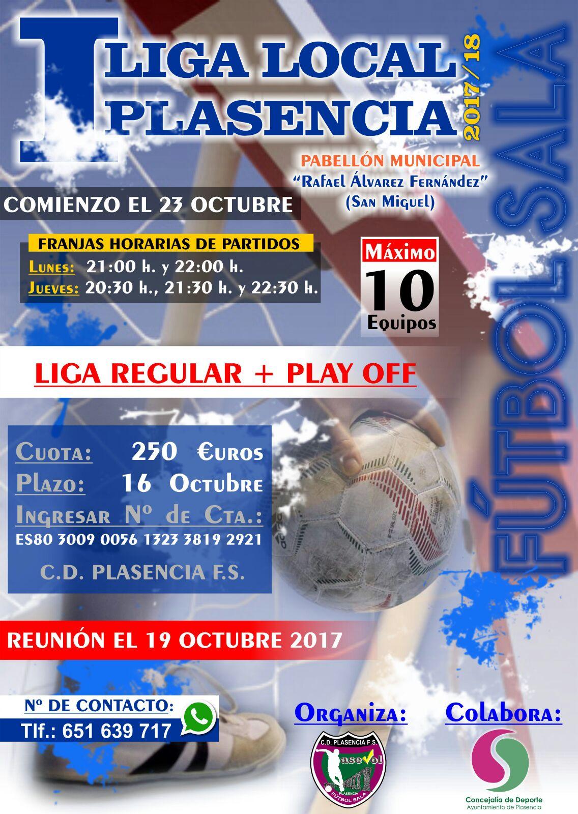 Reunión el 19 de Octubre de la Liga Regular de Fútbol-Sala organizada por C.D. Plasencia F.S