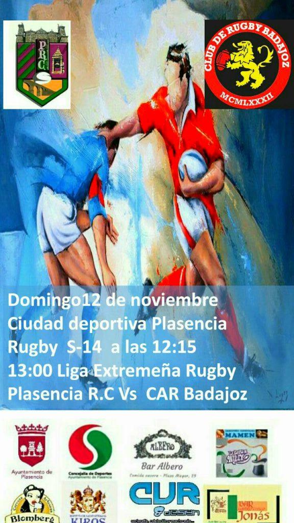 El Plasencia Rugby Club recibe al CAR Badajoz (Liga Extremeña Rugby)