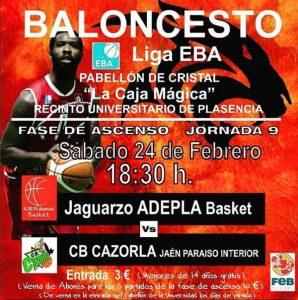 El Jaguarzo Adepla comenzará la lucha por el ascenso recibiendo al CB Cazorla