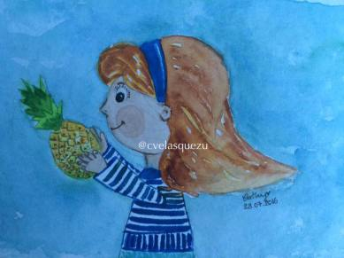 Carlota escoge una piña