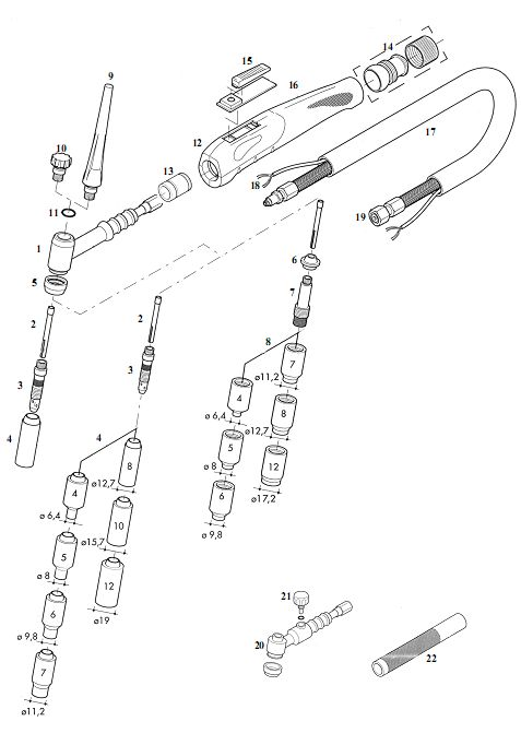 Spare parts compatible for Tig torch Binzel® type SR17-17V