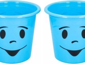 2x Blauw prullenbakje met gezichtje 5 liter - Kinderkamer bureau accessoires - Blauwe afvalbak/papierbak met smiley 5 liter