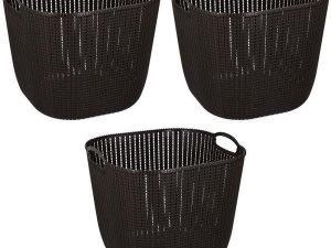 3x Donkerbruine kunststof wasmanden 47 liter - Wasmanden/wasgoedmanden - Huishoudelijke producten/artikelen - Huishouden