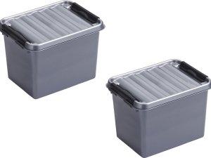 4x stuks sunware Q-Line opbergboxen/opbergdozen 3 liter 20 x 15 x 14 cm kunststof - Praktische opslagboxen - Opbergbakken