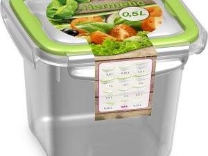 5x Voorraad/vershoudbakjes 0,5 liter transparant/groen plastic/kunststof - Kiev - Luchtdicht/hermetisch afgesloten vershouddoos bakje - Mealprep - Maaltijden bewaren