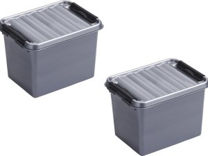 8x stuks sunware Q-Line opbergboxen/opbergdozen 3 liter 20 x 15 x 14 cm kunststof - Praktische opslagboxen - Opbergbakken