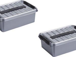 8x stuks sunware Q-Line opbergboxen/opbergdozen 4 liter 30 x 20 x 10 cm kunststof - Praktische opslagboxen - Opbergbakken