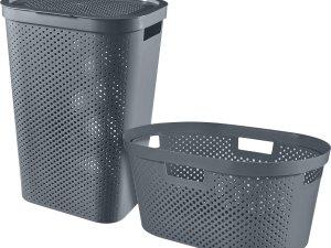 Curver Infinity Wasbox 60L + Wasmand 40L - Antraciet