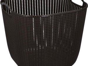 Donker bruine kunststof wasmand 47 liter - Wasmanden/wasgoedmanden - Huishoudelijke producten/artikelen - Huishouden