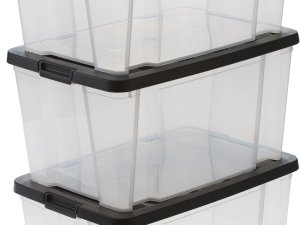 IRIS Handybox Opbergbox - 3x 45L - Kunststof - Transparant/zwart