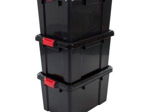 IRIS Powerbox Opbergbox - 50L - 3 stuks - Zwart/Rood