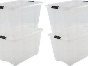 IRIS Topbox Opbergbox - 60L - 4 stuks - Transparant/Zwart