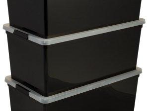 Iris Ohyama New Carry Stocker Rollerbox - Opbergbox - 70 l - Zwart/Transparant - Wieltjes - Set van 3