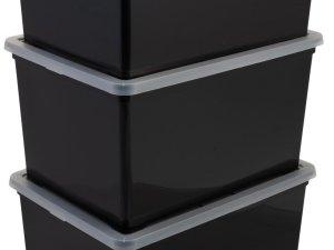 Iris Ohyama New Cristal Rollerbox - Opbergbox - 50 l - Zwart/Transparant - Wieltjes - Set van 3