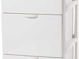 Iris Ohyama Style Chest Ladesysteem met 3 lades - 3 x 13 l - Kunststof - Gebroken Wit - Met wieltjes