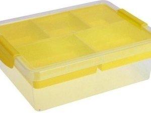 Opbergbox/sorteerdoos met 5-vaks tray geel 33 cm - Naaigerei opbergen - Opbergers