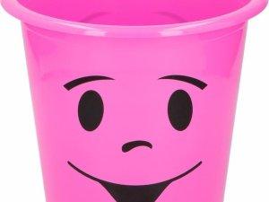 Roze prullenbakje met gezichtje 5 liter - Kinderkamer bureau accessoires - Roze afvalbak/papierbak met smiley 5 liter