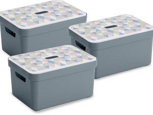 Sunware Sigma Home Opbergbox - 13L - 3 Stuks - Blauwgrijs/Triangel
