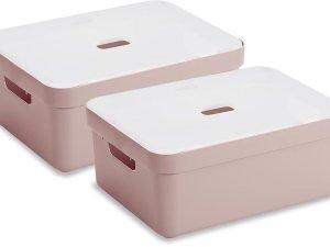 Sunware Sigma Home Opbergbox - 24L - 2 Stuks - Roze/Transparant