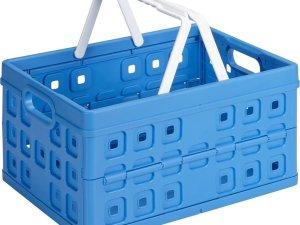 Sunware Square Vouwkrat - Met 2 extra handgrepen - 32 l - blauw/wit