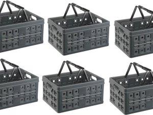 Vouwkrat met 2 extra handgrepen 32 l set á 6 stuks antraciet/zwart