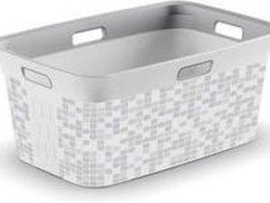 Wasmand 45 liter wit/grijs geblokt 59 x 39 cm | Hoogte 27 cm |