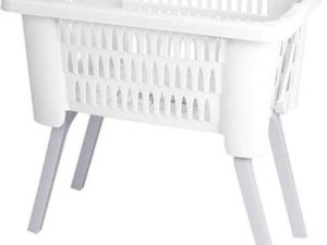 Witte kunststof wasmand op poten 38 liter - Wasmanden/wasgoedmanden - Huishoudelijke producten/artikelen - Huishouden