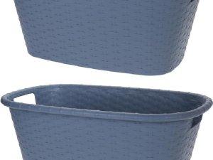 2x Grijsblauwe wasmanden 35 liter 60 x 40 x 25 cm - Kunststof/plastic draagmand - De was doen huishoudartikelen - Wasmanden/wasgoedmanden