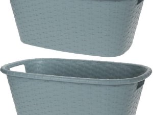 2x Grijsgroene wasmanden 35 liter 60 x 40 x 25 cm - Kunststof/plastic draagmand - De was doen huishoudartikelen - Wasmanden/wasgoedmanden