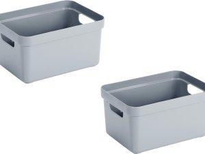 3x stuks blauwgrijze opbergboxen/opbergdozen/opbergmanden kunststof - 13 liter - opbergen manden/dozen/bakken - opbergers