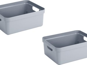 3x stuks blauwgrijze opbergboxen/opbergdozen/opbergmanden kunststof - 24 liter - opbergen manden/dozen/bakken - opbergers