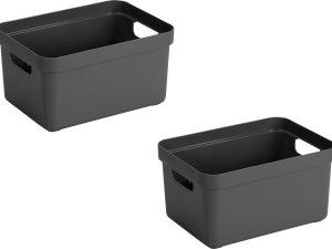 4x stuks antraciet grijze opbergboxen/opbergdozen/opbergmanden kunststof - 13 liter - opbergen manden/dozen/bakken - opbergers